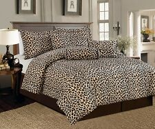 Beautiful 7 Pc Brown and Beige Leopard Print Faux Fur, Comforter Bedding