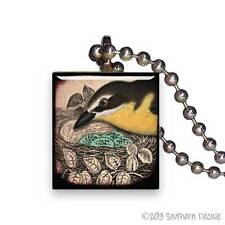 Reclaimed Scrabble Tile Pendant Necklace Jewelry - Black & Yellow Bird with Nest