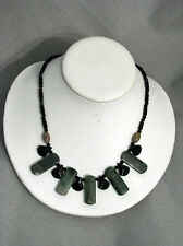 Tribal Black Onyx and Green Jasper Necklace