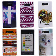 Fashion Luxury Cross Cute Owl Mural Hard Back Case Cover for LG Optimus L7 P700