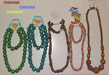 green,brown/pink Diff.shape wooden bead necklace set with bracelet or earrings