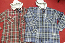 FLANNEL JACKET with HOOD FALCON BAY QUILT LINED FRONT ZIPPER BLUE OR RED Plaid