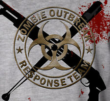 Zombie Outbreak Response Team Walking Dead Heavyweight Printed Grey T-Shirt