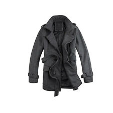 New Men's Wool Blend Casual Jacket Double Breasted Parka Trench Coat Overcoat
