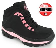 NEW LADIES SAFETY BOOTS LEATHER HIKING STEEL TOE CAP WOMANS BLACK PINK TRAINERS