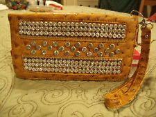 Ostrich Rhinestone Deco Clutch Wallet with Wrist Strap Faux Leather BLING NWT