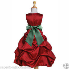 NEW CHRISTMAS DRESS HOLIDAY PARTY APPLE RED FLOWER GIRL WEDDING 2 4 6 8 10 12 14