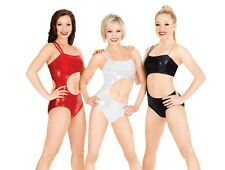 Lacey Schwimmer Metallic Cutout One-Shoulder Leotard- Black Red Silver- XS S M L