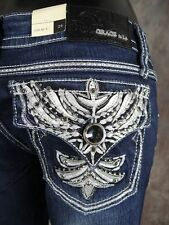 NWT Womens GRACE IN LA Bootcut Jeans with Phoenix Leather Wings & Crystals!
