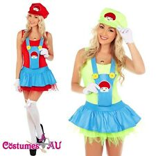 Womens Super Mario Luigi Brothers Plumber Fancy Dress Up Party Costume + gloves