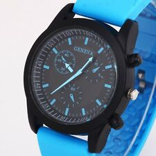 4 Colors Cool Men's Luxury Black Dial Sports Watch Rubber Strap Wristwatch New