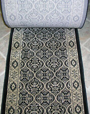 """Rug Depot Hall and Stair Runner Remnants - 26"""" Wide - Couristan CB74/0004A Black"""