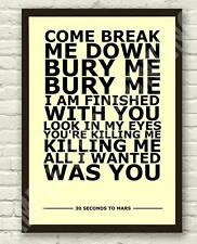 30 Seconds To Mars - The Kill Typography Lyric Art Poster Print A4 A3 4x6 10x15c