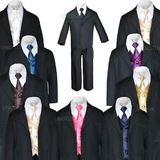 New 7pc Satin Vest Neck Tie + Boy Baby Toddler Kid Black Formal Suit Tuxedo S-20
