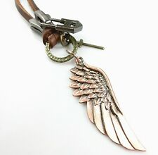 Vintage Golden/Silver Cool Men Genuine Leather Necklace Rare Angle Wing Pendants