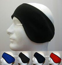 MEN WINTER FLEECE STRETCH SKI HEADBAND EAR WARMER - BLACK RED NAVY BLUE GRAY