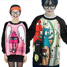 Fashion Cartoon Monster Harajuku Style Sweatshirt Women Blouse Shirt Long Sleeve