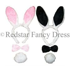 BLACK PINK PLAYBOY BUNNY RABBIT EARS TIE TAIL ALICE IN WONDERLAND FANCY DRESS