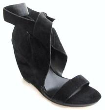 Joe's Jeans Candy Black Ankle Wrap Sandal Suede Platform Buckle Shoes New Straps