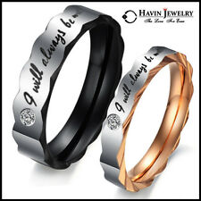 Valentine Couple Stainless Steel Ring Wedding Engagement Set Promise Love 4 ever