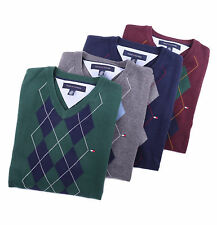 Tommy Hilfiger Men Classic V-Neck Argyle Golf Sweater - Free $0 Shipping