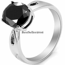 Black Round Cut Solitaire CZ Stainless Steel Womens Ladies Engagement Ring