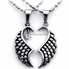 His and Hers Stainless Steel Matching Couples Angel Wings Pendant Necklace Set