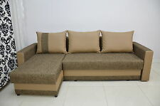 BRAND NEW CORNER HIT!!! SOFA BED 'KENT' NEW FABRIC,CHENILLE+FAUX LEATHER TRIM
