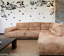 2 Corner Flower Swirl With Butterflies Wall Sticker - Wall Art -2 Colours - s53