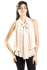 Foley & Corinna Trapeze Sheer Pleated Top Champagne Tiered Blouse Beige Chiffon