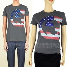 GUCCI TOP GRAY US GG FLAG COLLECTION T-SHIRT COTTON JERSEY INTERLOCKING LOGO