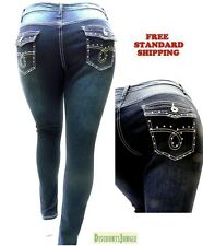 Super Stretch HIGH WAIST WOMEN PLUS SIZE DARK BLUE DENIM JEANS pants SKINNY LEG