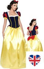 Ladies Long Snow White style Costume Sexy Fancy Dress Woman Fairytale World Book
