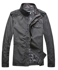 Mens Business Jacket Casual Zipper Button Leather Collar military Coat Parka
