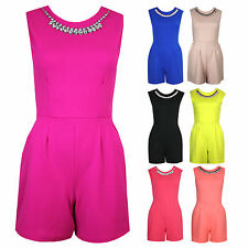 Womens Sleeveless Diamante Jewel Necklace Pleated Zipped Playsuit Jumpsuit