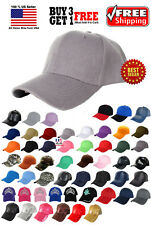 Men Women New Plain Solid Color Baseball Cap Curved Visor Hat Velcro Adjustable