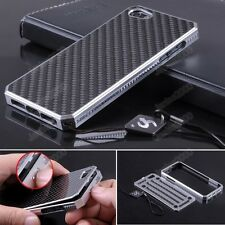 Luxury Aluminum Metal Carbon Fiber Material Panel Cover Case For iPhone 5 G Gift
