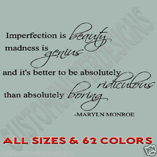 Imperfection is beauty Maryln Monroe Vinyl Wall Art Quote Decor Words Decals