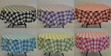 """Round Gingham Polyester Tablecloth approx 1.5"""" square check"""