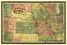 Old Railroad Map - Chicago, Burlington and Quincy Railroad 1879 - 23 x 34