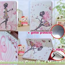 Fairy Girl iPad Mini/Air PU Leather Case Rhinestone Diamond Glitter Protector