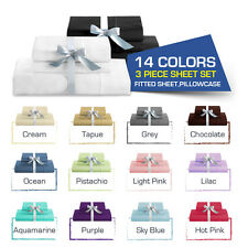 SINGLE,KING Single,DOUBLE,QUEEN&KING BED FITTED SHEET+PILLOWCASE SET-Brand New