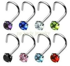 8pcs.18g, 20g 316L Steel Nose Screw w/3mm CZ Prong Set Nose Stud (Specify Size)