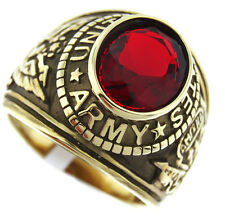Siam Red Stone Army US Military Gold EP Stainless Steel Mens Ring