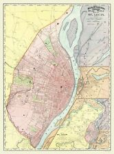 Old City Map - St. Louis Missouri, Illinois with Illinois 1907 - 23 x 31.17