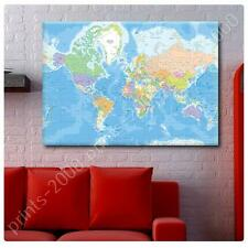 LARGE Canvas Political World Map art print wall art GICLEE decor poster photo