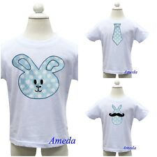 Boys Blue Polka Dots Easter Bunny Mustache Tie White Party Tee Shirt 3M-7Y