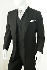 Men's 3 Piece Solid 2 Button Vents Regular Fit Notch Lapel Vested Suit Black