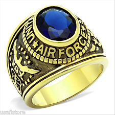 Montana Blue Stone Air Force US Military Gold EP Stainless Steel Mens Ring