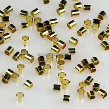 Wholesale 2000pcs Gold Plated Tube Crimp End Beads 1.5x1.5mm/2x2mm/2.5x2.5mm